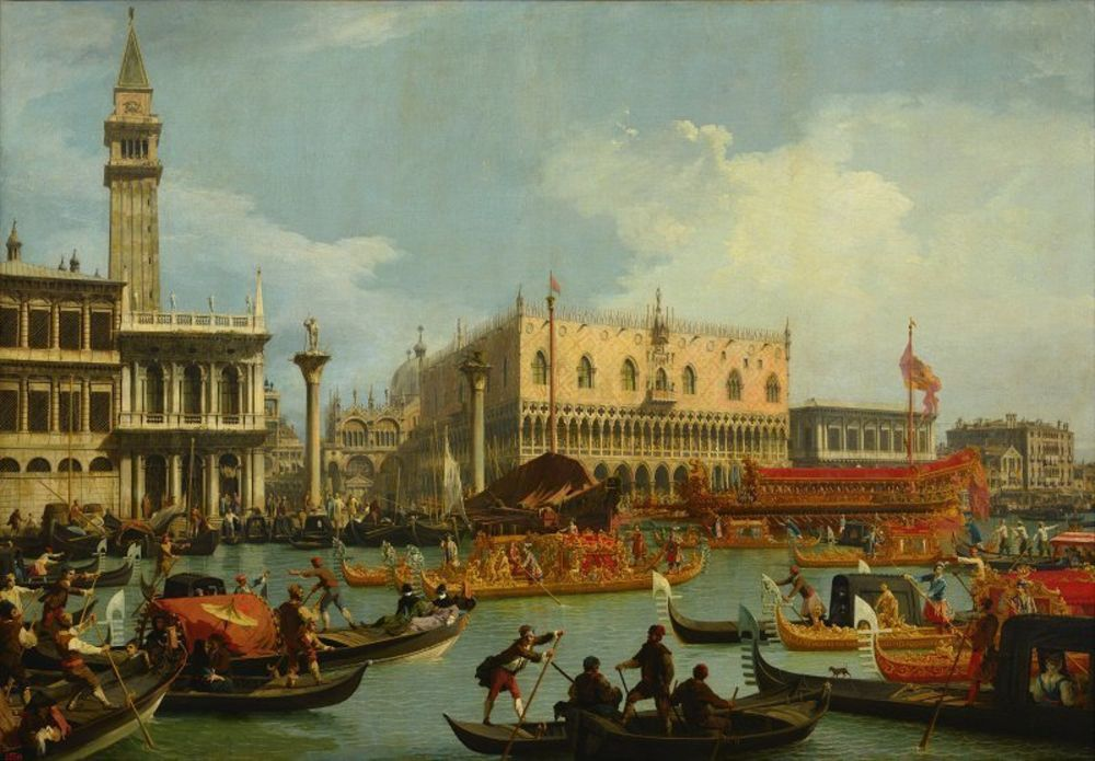 Canaletto - Bucentaur's return to the pier by the Palazzo Ducale.jpg